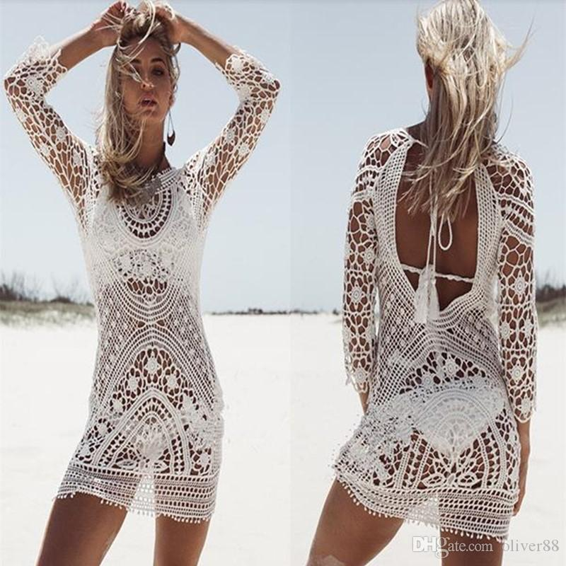 8544146124e94 2019 2017 Fashion Women Bathing Suit Lace Crochet Bikini Cover Up Swimwear  Summer Beach Dress White Boho Sexy Hollow Knit Swimsuit From Oliver88