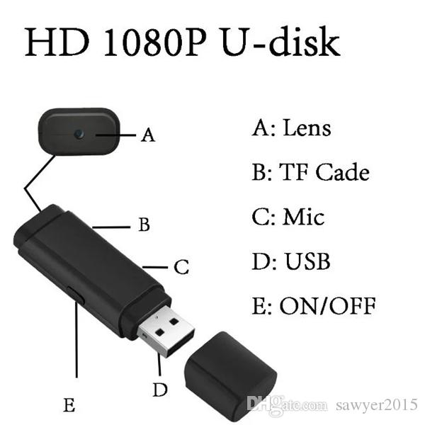 U disk cameras HD 1080P USB Disk Mini DV DVR Camcorder USB Flash Drive Pinhole Camera Support 64G TF card