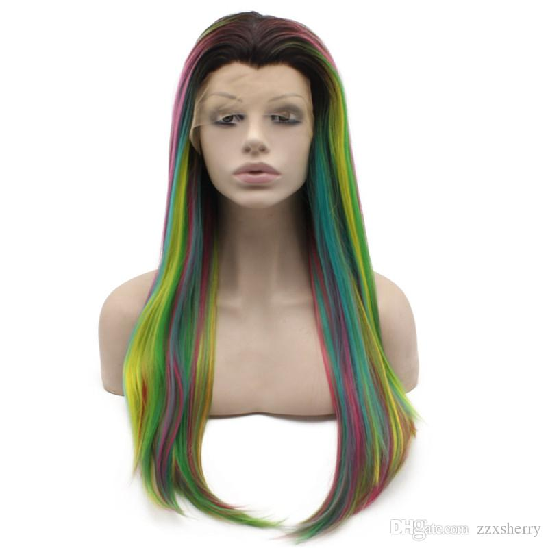 Long Straight Dark Roots Ombre Lace Front Halloween Wig Cosplay