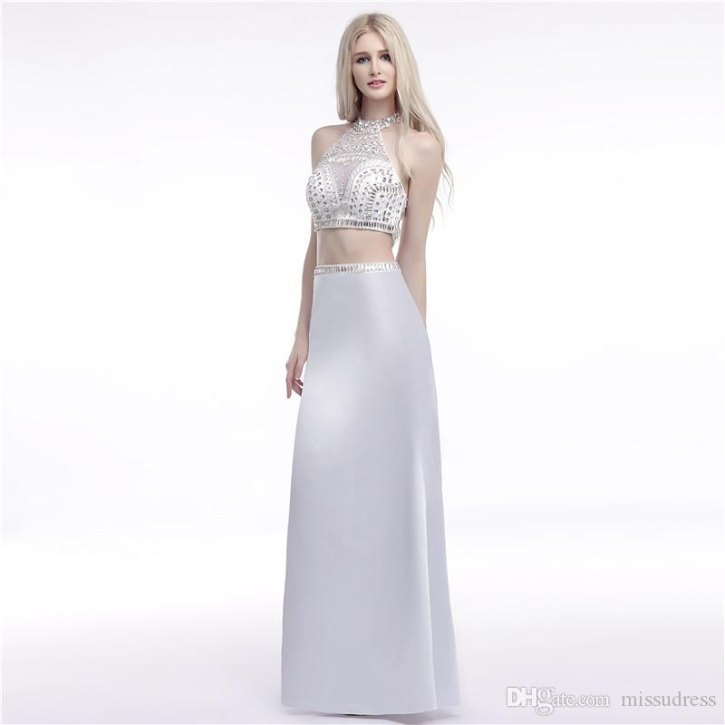 Sexy rhinestone two piece mermaid prom dress Crystal Beaded Sheer Neck Backless dresses evening wear White Evening Gown