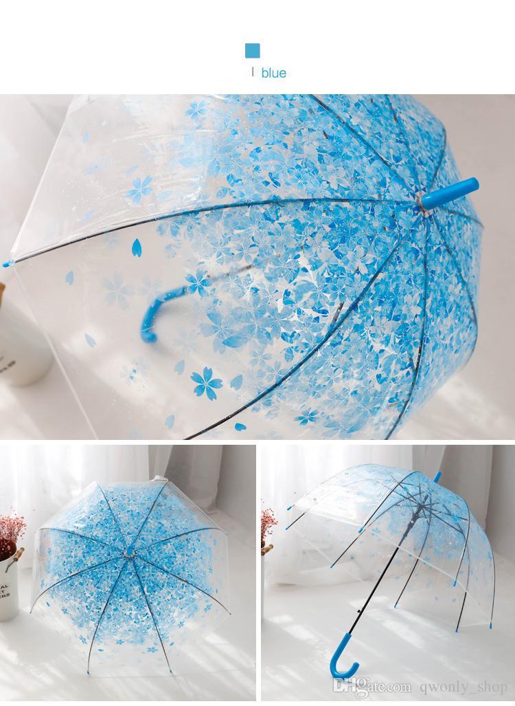 Cherry Blossom Transparent Umbrella Long Handle Sun Rain Umbrellas Women Girl Clear Princes Wedding Bridesmaid Umbrella