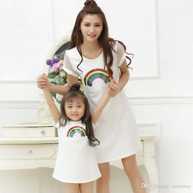 Summer New Rainbow Dress Family Matching Outfits New Kids A Line Clothing  Casual Mother Daughter Dresses Clothes Mommy And Me Matching Mom Daughter  Outfits ... 08392acb0a7b