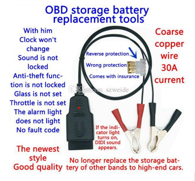 OBD2 Herramienta de Reemplazo de Batería Auto batería de coche Pinzas de Cocodrilo abrazaderas de batería ECU de Coche Cable de Suministro de Energía de Emergencia