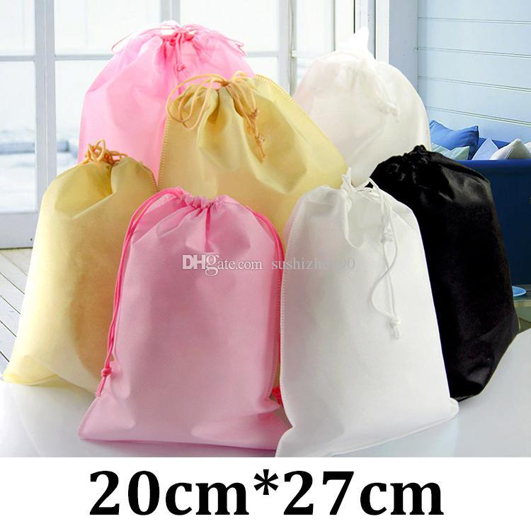 fd14eeacb5fd 2019 20x27cm Bundle Pocket Eco Friendly Non Woven Custom Print Black  Drawstring Bag From Sushizhe190