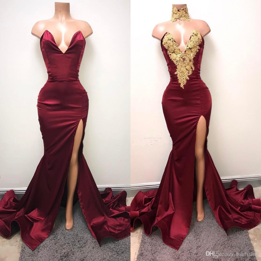 Elegant Dark Red Evening Dresses Mermaid Split Front Sexy