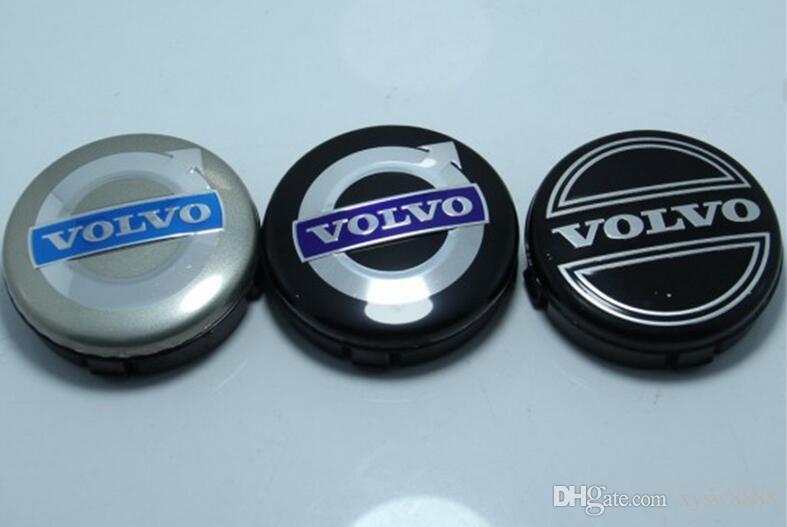 es 20 unids 64 mm para volvo casquillos centrales de la rueda cubierta del emblema del coche insignia emblema negro / gris / AZUL C30 C70 S40 V50 S60 V60 S80 XC90