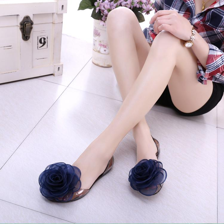 df6de0da5fecf New Summer Sandals Female Rose Flowers Transparent Crystal Bottom Jelly  Shoes Female Fish Mouth Shoes Flat Sand Beach Cool Slippers Sparx Sandals  Blue Shoes ...
