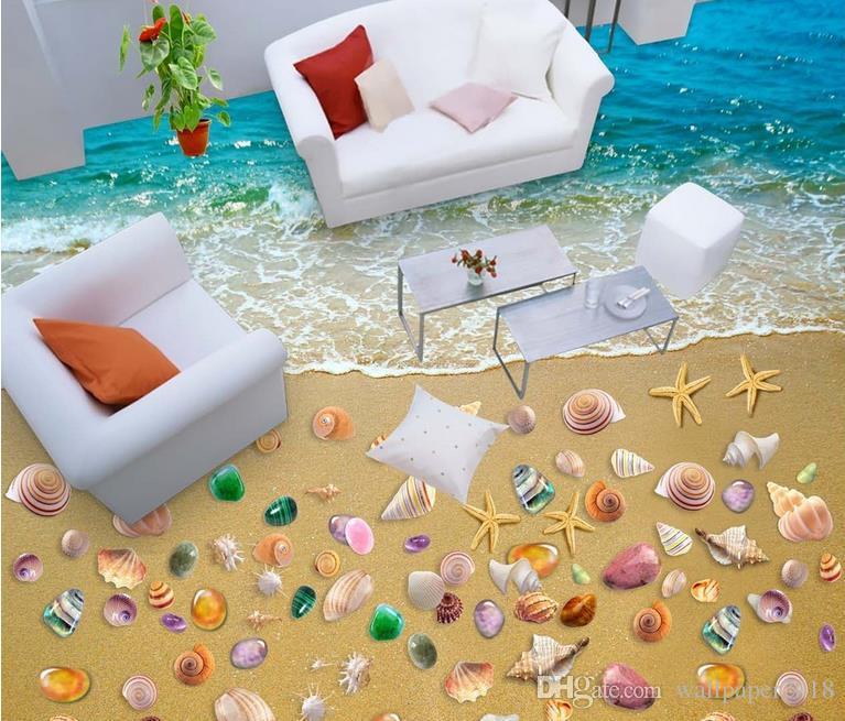 Tapeten Wohnkultur Beach Waves Shell 3D Bodenfliesen Fliesen Gemalt Vinylboden Badezimmer