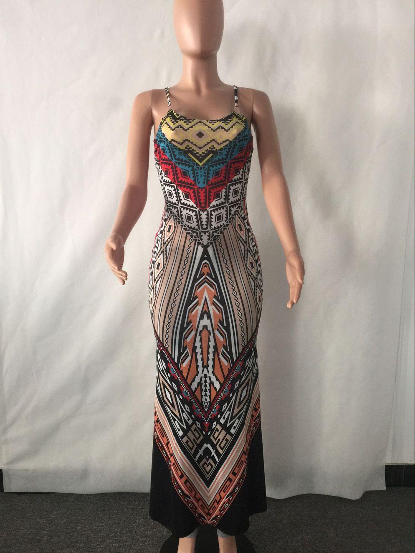 European America Hot sale Women dress National Print Fashion Long Dress Sleeveless Split Backless Bodycon Maxi Dress
