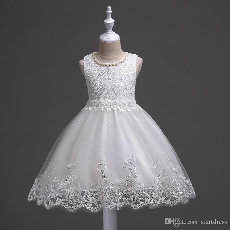 Fast Shipping Pink Blue White Flower Girl Dress A Line Lace Peals Girls Pageant Dresses Kids Communion Dresses Baby Toddler Pageant Dresses