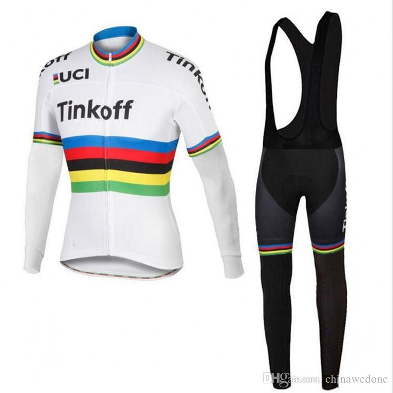 986f24b7f Spring UCI Tour Champions Team Tinkoff Saxo Bank Rainbow Long Sleeve Cycling  Jerseys Thin Quick Dry Bike Cloth Bicycle Maillot Pants Gel Pad Jersey  Cycling ...
