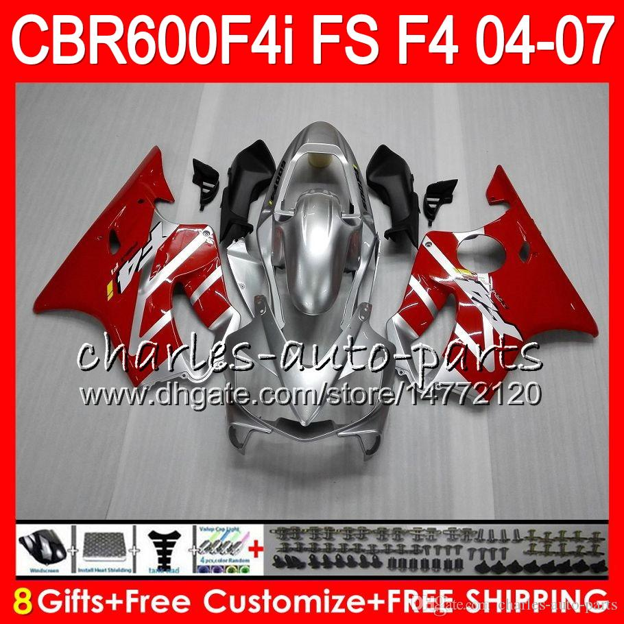 8Gifts hoonda cbr 600 f4i cbr600f4i 04 05 06 07 aahm9 cbr600fs 빨간색 은색 FS CBR600 F4i CBR 600F4i 2004 2005 2006 2007 Fairing