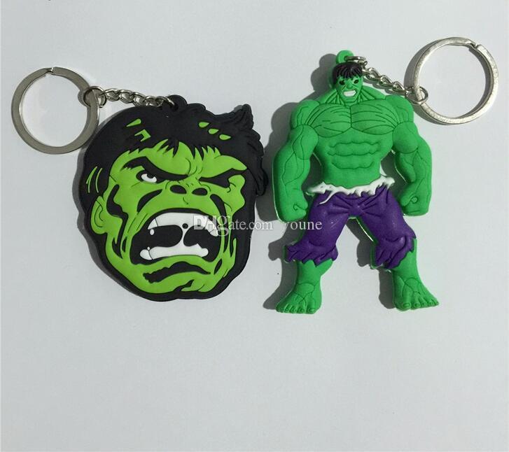 Hot!Super Hero keychain High quality Lovely The hulk The Avengers Flash Green Lan CARTOON collection PVC Llavero Chaveiro