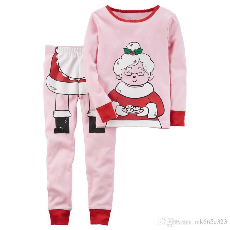da12116f7cc4f Acheter Enfants Pjs Ensembles De Vêtements 2017 Automne Enfant Bébé Garçons  Filles De Noël Grand Mère Père Noël Cartoon Tops + Pantalon Pyjamas  Costumes ...