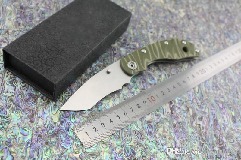 Jabalí Strider Tritium style SMF SNG Cuchillo plegable con cabeza en T D2 Cuchilla de lavado a la piedra G10 + Flame Mango de aleación de titanio Cuchillo táctico Herramientas EDC