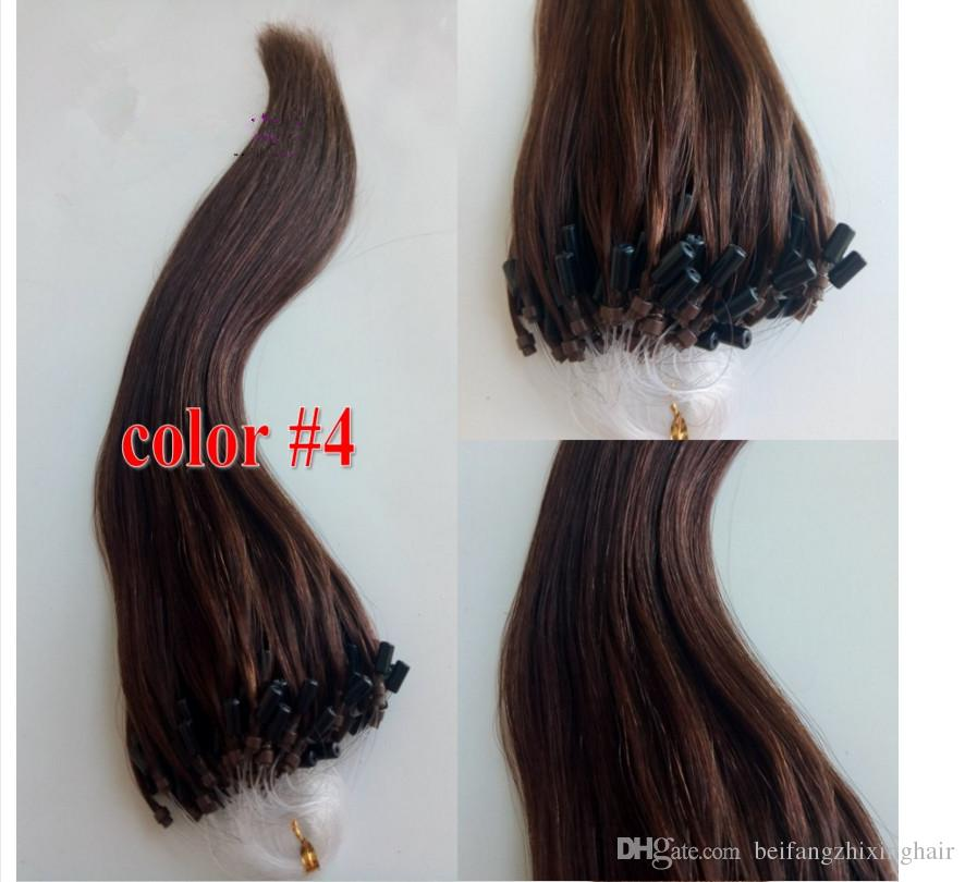 "Grade 7a!!wholesale remy indian Hair 14""-26""1g /s 100g#4 light brown Loop/Micro Ring Hair Extension,100% Human Hair Extensions dhl free"