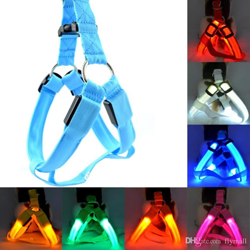 6 colori a pile LED lampeggiante cablaggio collare cintura Pet Cat Dog Tether Collari di luce di sicurezza Forniture per animali da compagnia guinzaglio LED guinzagli