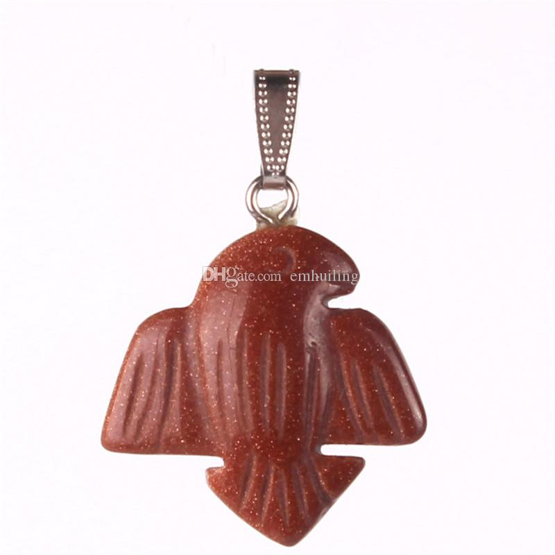 Hot Stylish New Natural Stone Tiger Eye Blue Gold Sand Stone Cute Jewelry Dove Peace Pendant for Making Women Lady Perfect Gift