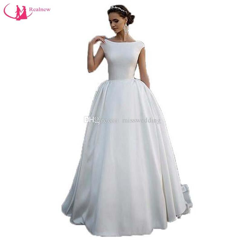 Cap Sleeve Cream Wedding Dress Simple Design Scoop Neck Invizible ...