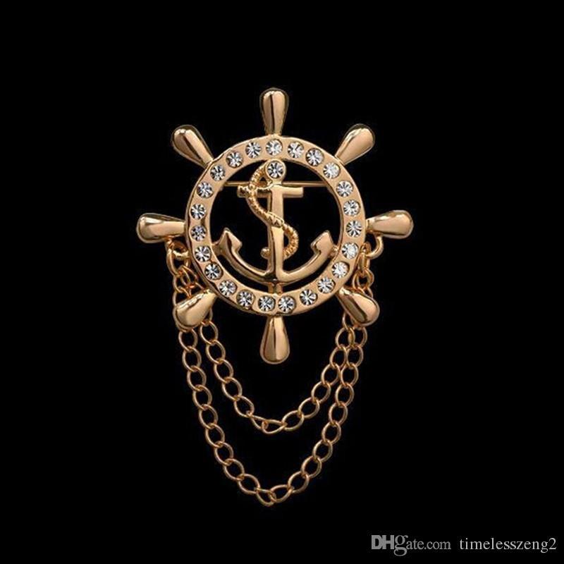 Perfurar o broche de liga de borla borla âncora Broche de festa de diamante de alto grau artificial camisa ternos emblema corpete