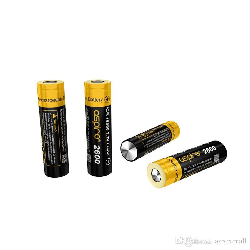 100% Otantik Aspire 18650 Batarya INR18650 2900 mAH 20A / ICR18650 2600mAh 20A Vape Hücre 3.7 V Li-Ion Eigs Için Şarj Edilebilir Pil