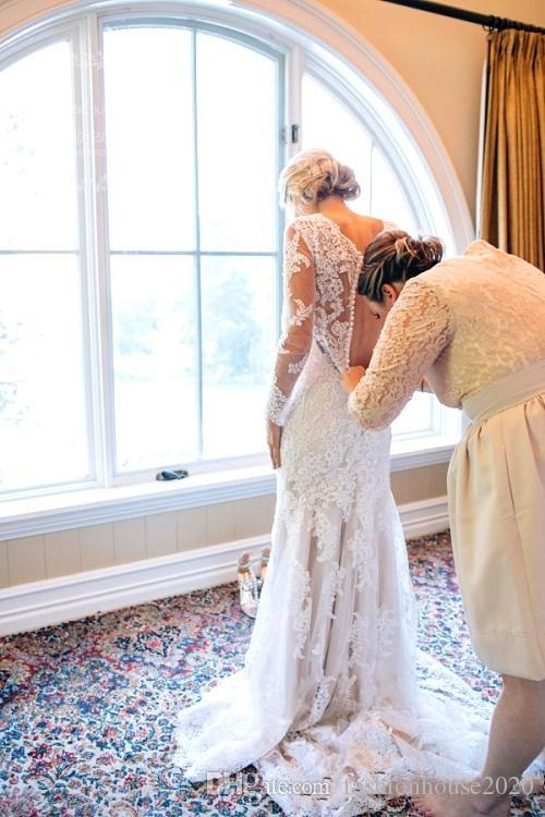 2017 New Vintage Mermaid Wedding Dresses V Neck Long Sleeves Lace Appliques Sweep Train Button Back Tulle Plus Size Formal Bridal Dress