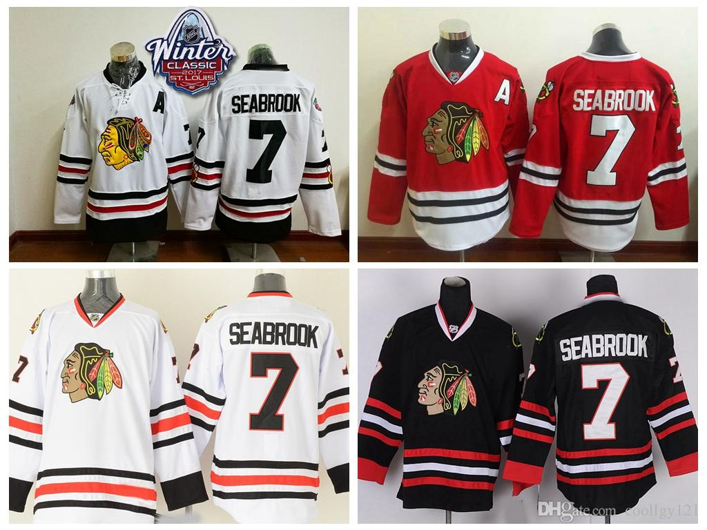 save off 6df41 21b11 2017 Winter Classic Chicago Blackhawks Hockey Jerseys 7 Brent Seabrook  Jersey Home Red Black Men Brent Seabrook Hockey Jersey A Patch S-XXXL