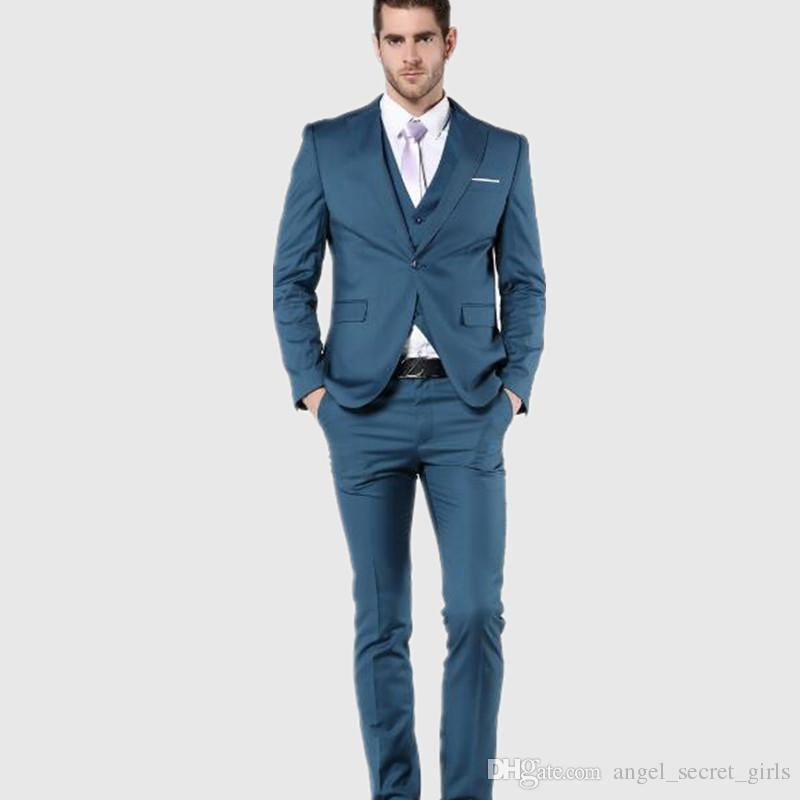 New Arrial Mens Suit Slim Fit Latest Coat Pant Designs groom Suits tuxedo Blue Wedding Suits For Menjacket+vest+pants