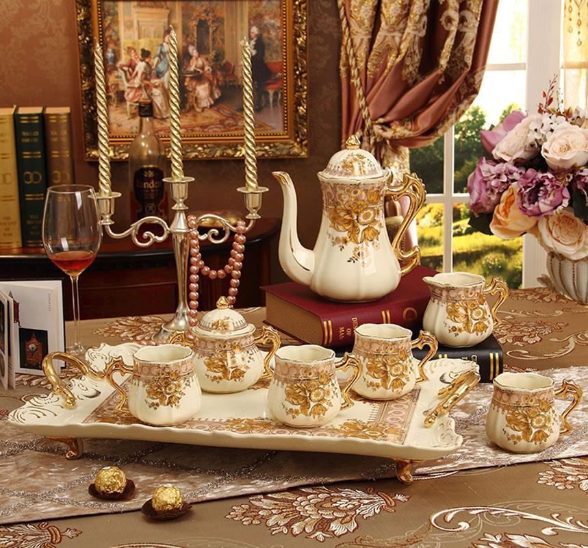 2019 Porcelain Coffee Cup Set Ivory Porcelain Flower Design Outline