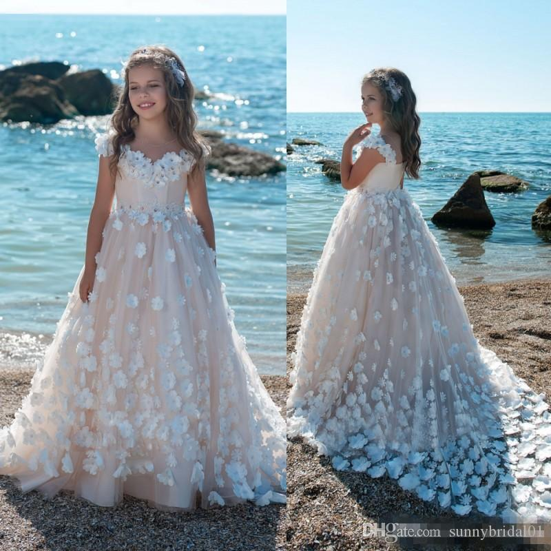 d36b669c5aa Hot Sale 2018 Flower Girls Dresses For Weddings 3D Floral Applique Blush  Pink Ball Gown Kids First Communion Dress Cheap Pageant Gowns Modest Flower  Girl ...