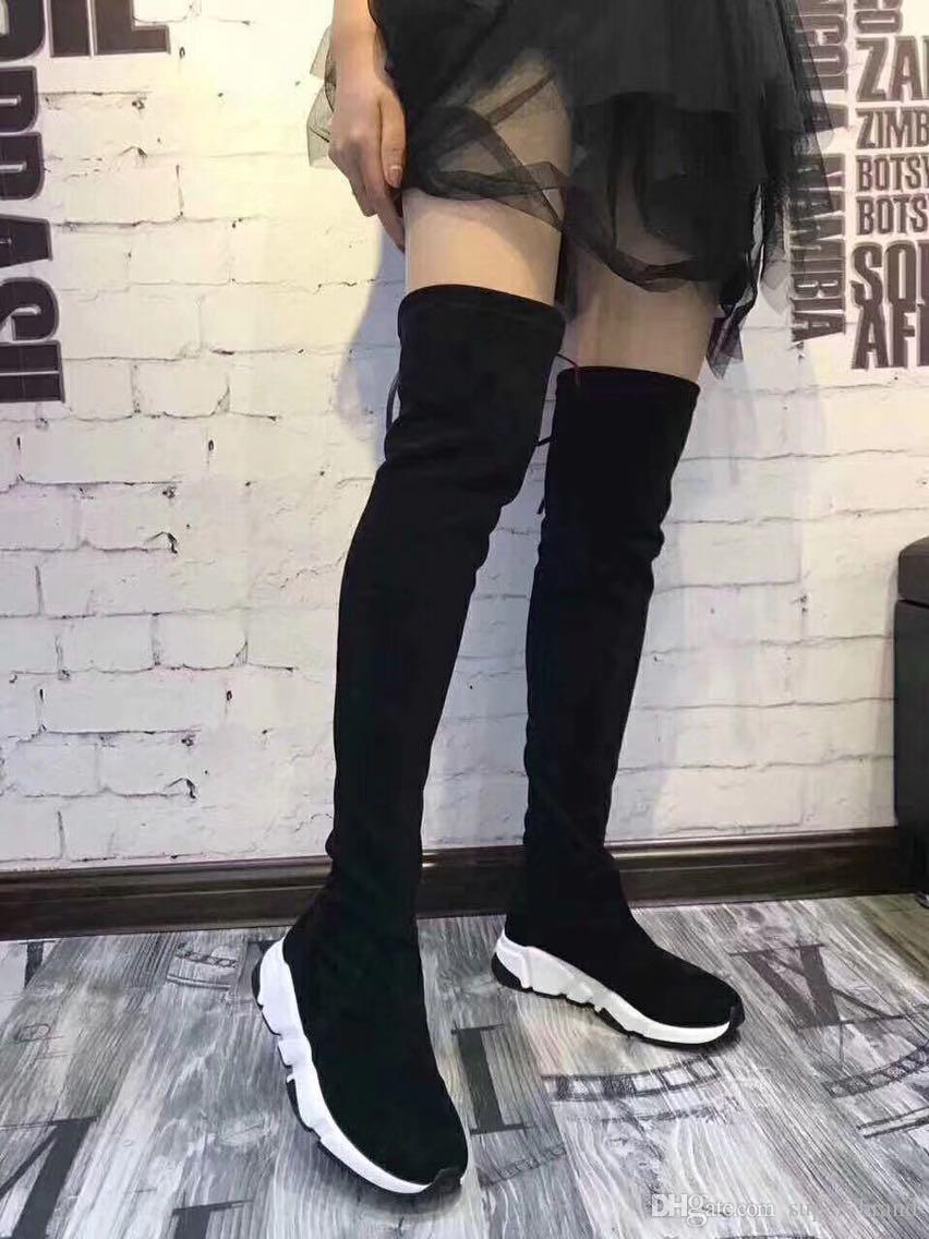 f76124a189b Sexy Women Brand Elastic Boots Girls Thigh High Boots Fashion Over The Knee  Boots Flats Botas Women Winter Long Shoes Motorcyle Booties 40 High Heel  Shoes ...