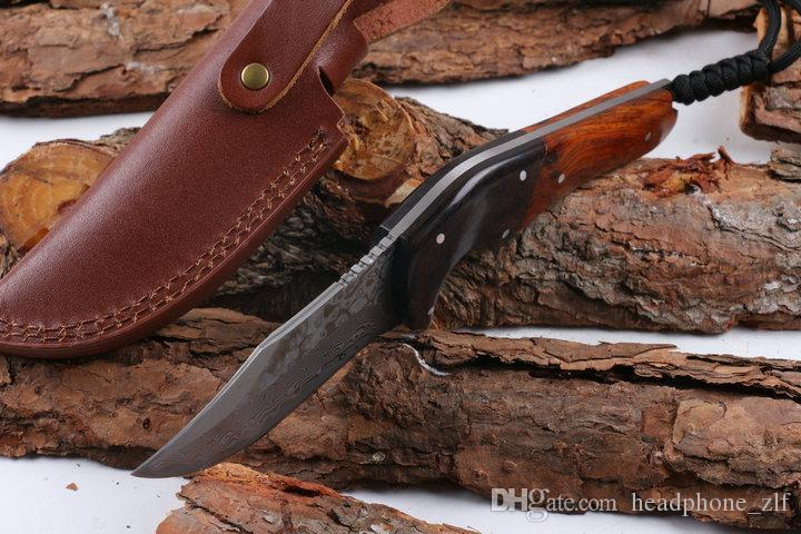 Drop Shipping Damascus Steel Survival Straight Hunting Knife 58HRC Rosewood&Ebony Handle Fixed Blade Knives with Leather Sheath