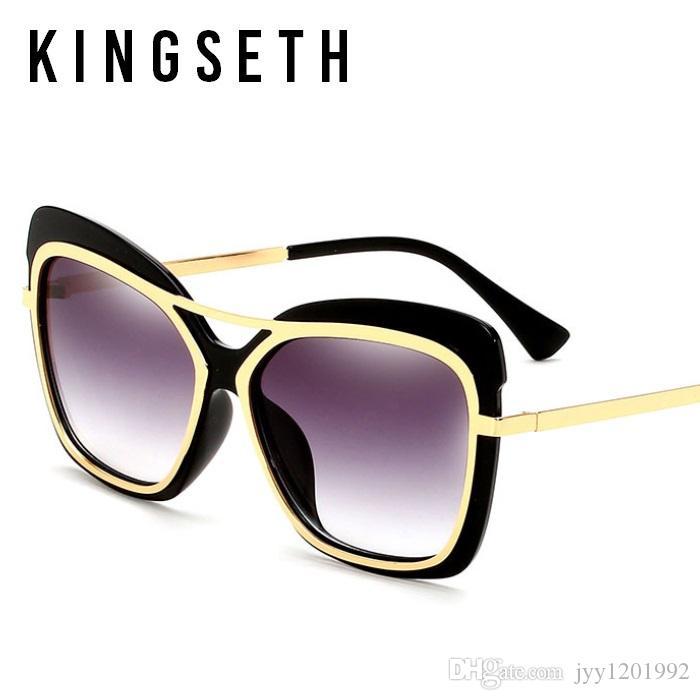 fa6daa1914 Compre KINGSETH Moda Mujer Hombre Gafas De Sol De Lujo Unisex Cateye Gafas  De Sol Cat Eye Diseñador De La Marca Sombra Vintage Gafas Clásicas UV400  Lente A ...