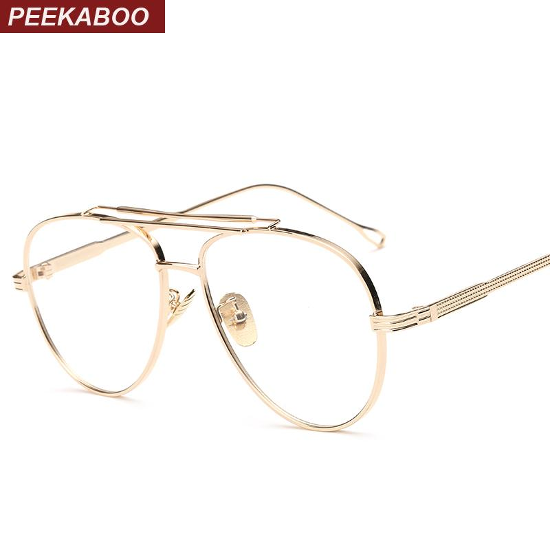 2018 Wholesale Peekaboo Clear Lens Gold Male Spectacle Frames For ...