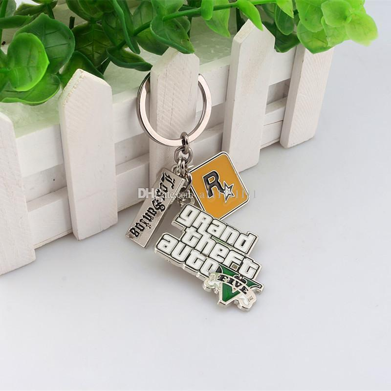 New Arrival Game Jewelry GTA5 Key Chain Alloy Letter Pendant Game Key Ring For Gift Fashion Charm Jewelry Keychain