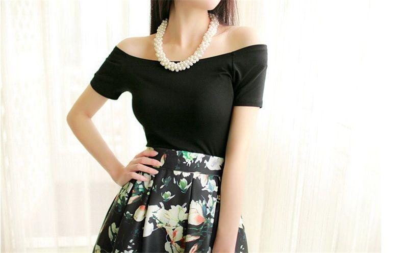 Kadın t shirt Yaz Moda Seksi Kapalı Omuz Tops Casual Kısa Kollu Pamuk T-Shirt Siyah Beyaz Kırmızı Gri Mavi NV41 RF