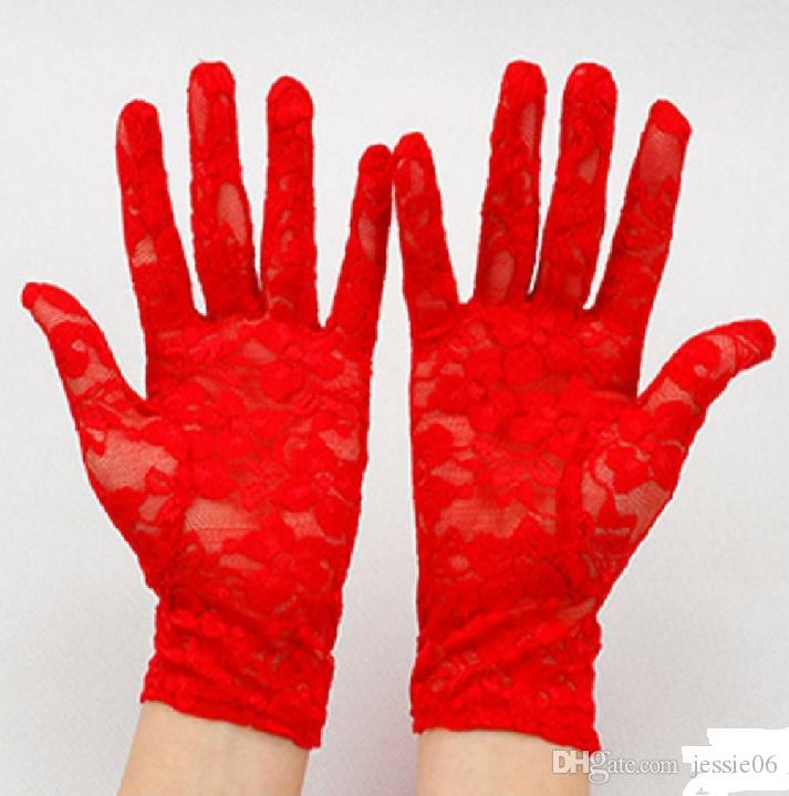 Brautabend Hochzeitsfeier Sheer Spitze Handschuhe Fahren Kostüm Handschuhe Abend Fancy Kleid Abschlussball Weihnachten Favor Weiße Elfenbein Schwarz Rot