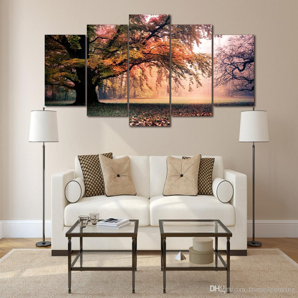 Framed HD Printed Fall Maple Tree Picture Wall Art Canvas Print Decor Poster Modern Canvas Oil Painting