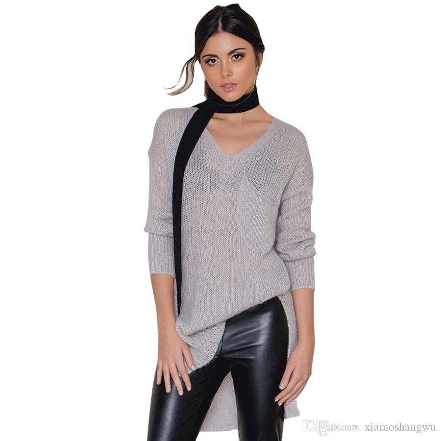 2018 Acrylic V Neck Off Shoulder Sweater Women Summer Oversized ...