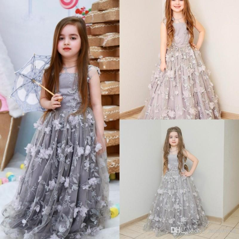 f70ee751bf4 Cute Silver Flower Girl Dresses For Weddings 3D Floral Appliqued Print  Princess Little Baby Gowns Vintage Long Communion Pageant Dress Latest Dress  For ...