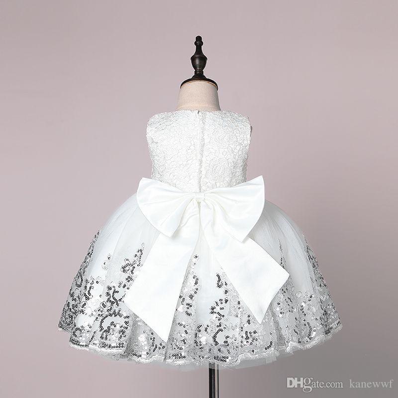 2017 Новый Блестками Платье Девочки 7-24 М 1 Лет Новорожденных Девочек Платья На День Рождения Платье 3 Цвета День Рождения платье принцессы