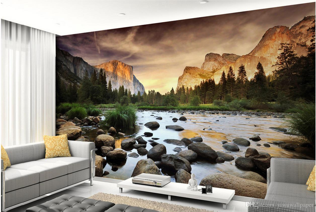 Beautiful photography Yellowstone park TV wall mural 3d wallpaper 3d wall papers for tv backdrop