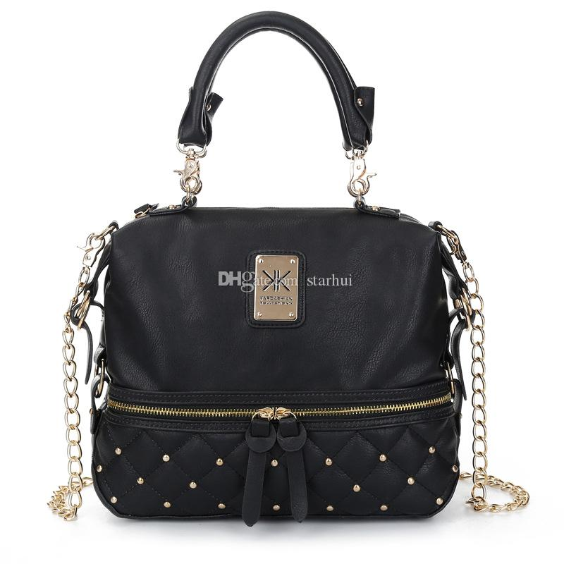 New Kim Kardashian Kollection Shoulder Bag KK Women Rivet Designer Bag Handbags Fashion Bucket Gold Chain Messenger Bags WX-B28