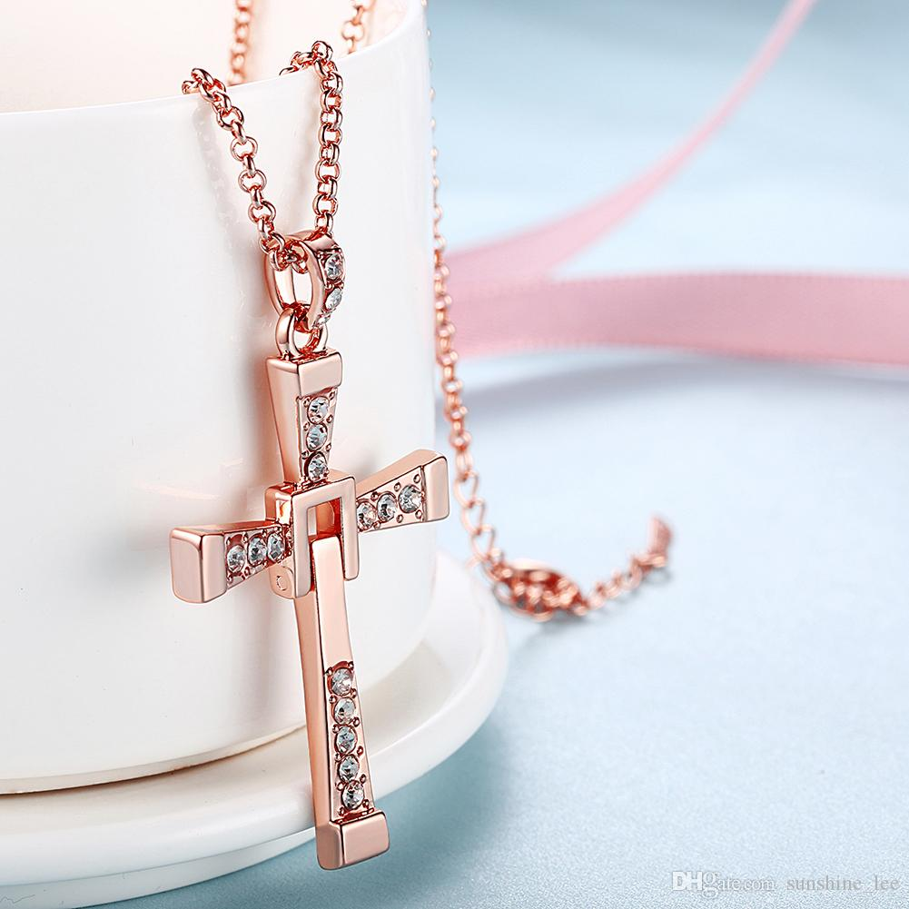 Elegant Good Rose Gold Plated Jewelry Long Cross with Multi Crystals Shining Cross with Thin Chains Men's Necklace Never Fade