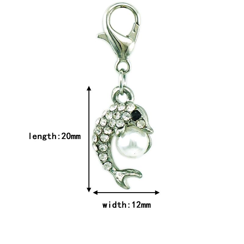Fashion Lobster Clasp Charms Dangle Rhinestone Pearl Dolphin Animal Charms DIY Pendants Jewelry Accessories