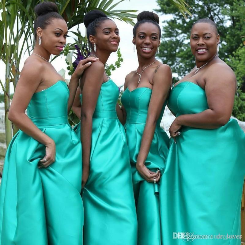 Turkuaz Hi Lo Arapça Stil Gelinlik Modelleri Cepler Saten Artı Boyutu Ile Negerian Afrika Düğün Konuk Hizmetçi Onur Parti törenlerinde