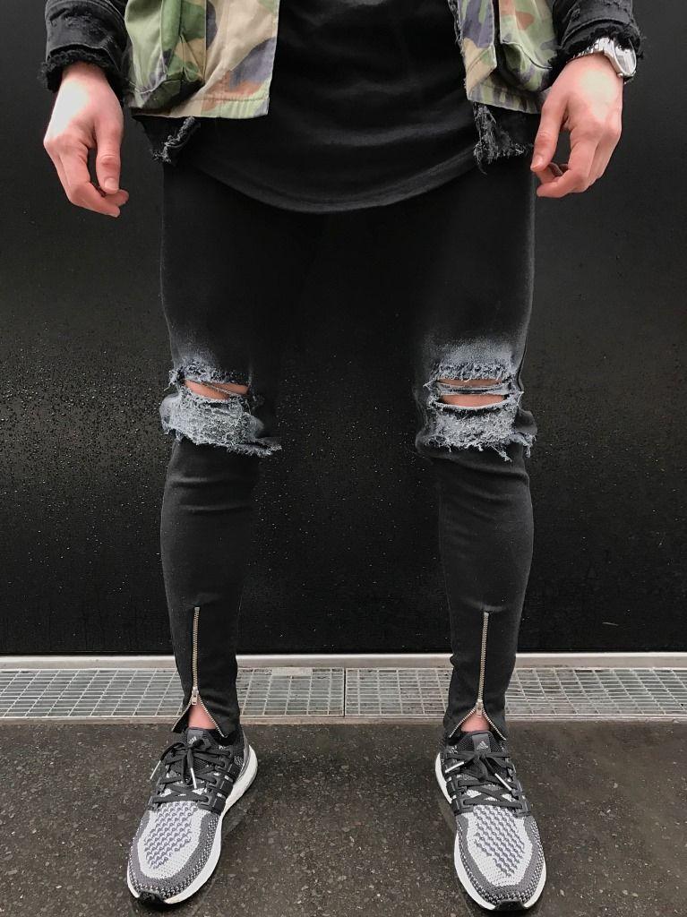 Toptan ücretsiz kargo Yeni erkek tasarımcı yok yırtık kot mens hip hop biker yıkama mavi kot pantolon ince rahat motosiklet