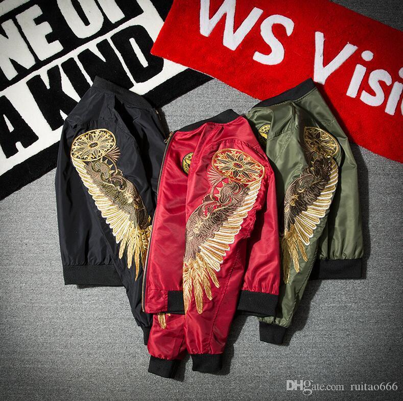 Europa und die Vereinigten Staaten Straße Gezeiten Marke lon don Junge yeezus Männer und Frauen Liebhaber Engel Flügel Stickerei Eagle Jacke Baseball Kleidung