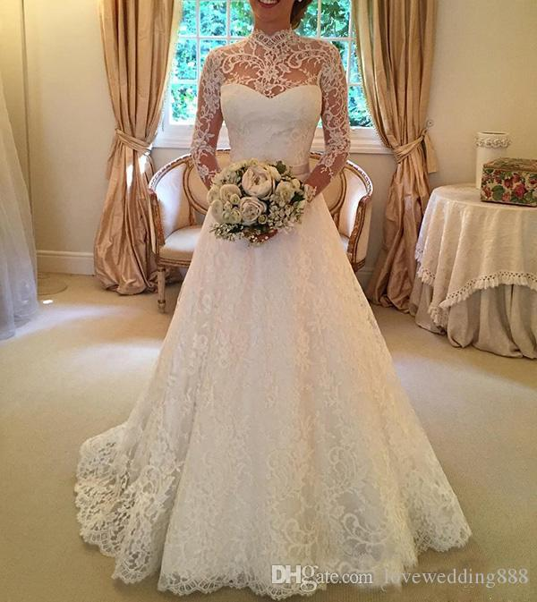 2018 Vintage A Line High Neck Full Lace Wedding Dresses With Ilusion Long Sleeve Covered Button Bridal Gown