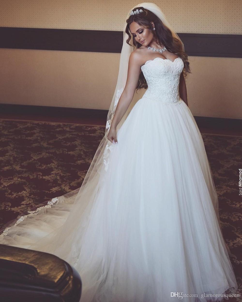 A Line White Tulle Wedding Dress 2017 Arabic Bridal: Noiva Fashion New White Wedding Dress 2017 Sweetheart Off